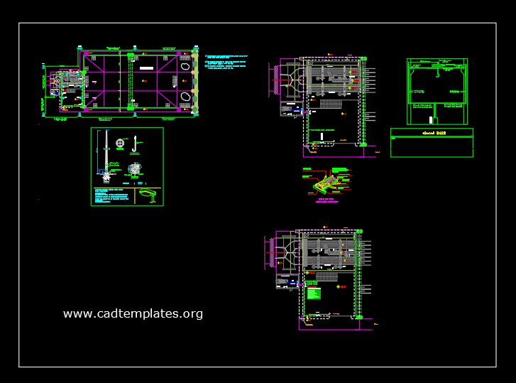 Stilling Basin Hydraulic Pump Sections Details Autocad Template DWG