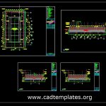 Tennis Court Layout Plan and Sections Details Autocad Template DWG