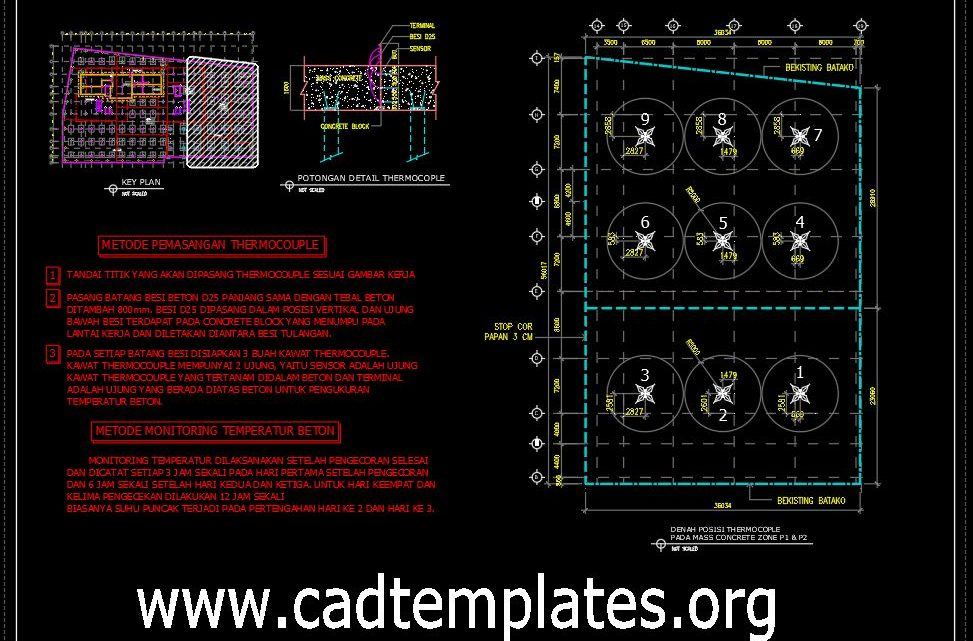 Thermocouple Method Monitoring Concrete CAD Template DWG