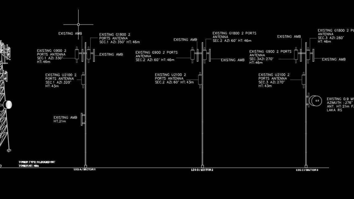 Tower Antenna Electric Scheme Details CAD Template DWG