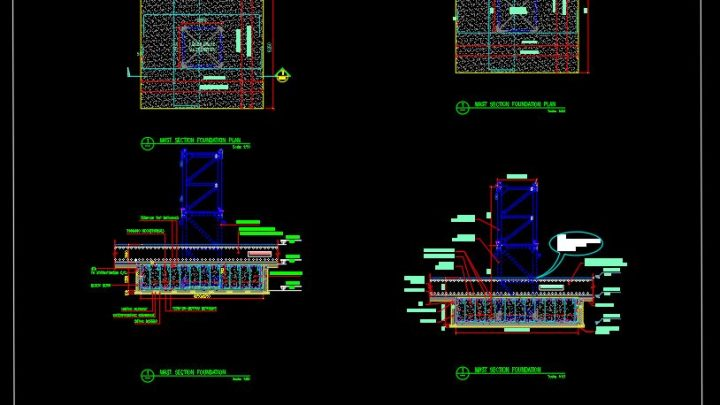 Tower Crane Raft Foundation Details CAD Template DWG