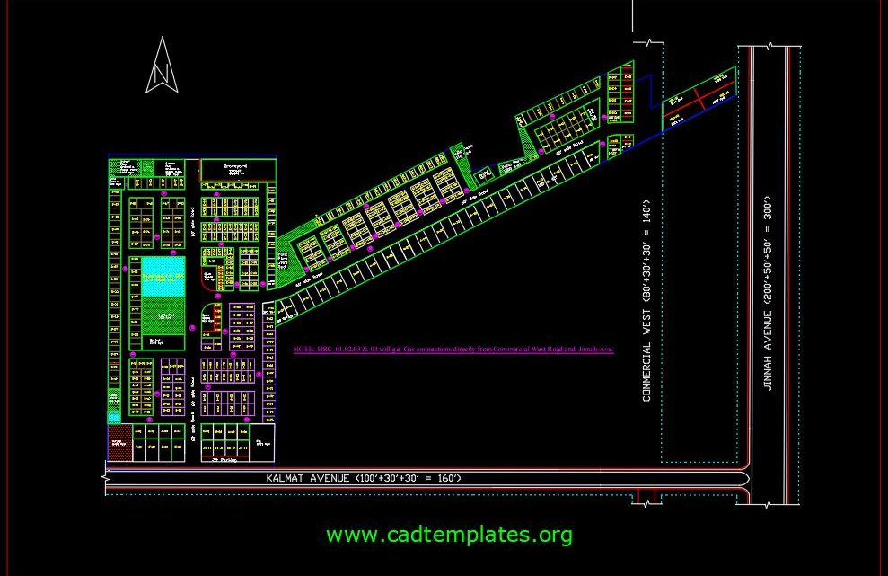 Town Planing Layout CAD Template DWG