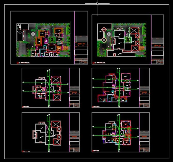 Villa Private Plan CAD Template DWG