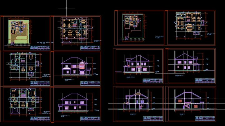 Villa Tulip Layout Plan and Elevation CAD Template DWG