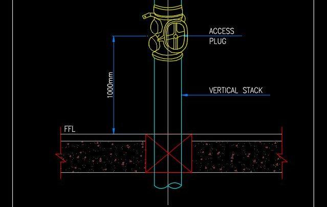 Access Plug in Vertical Riser Detail CAD Template DWG