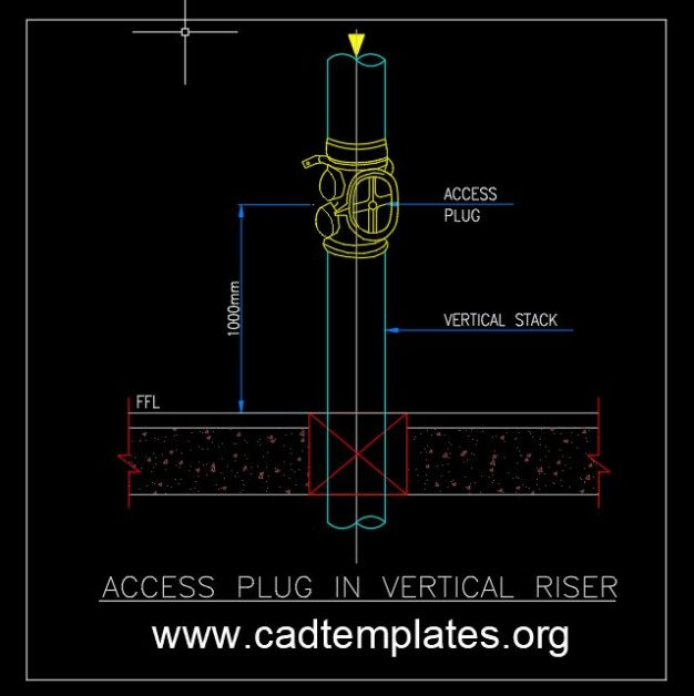Access Plug in Vertical Riser Detail CAD Template DWG