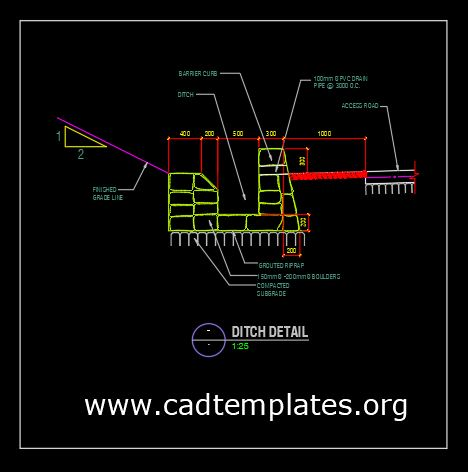 Access Road and Ditch Detail CAD Template DWG