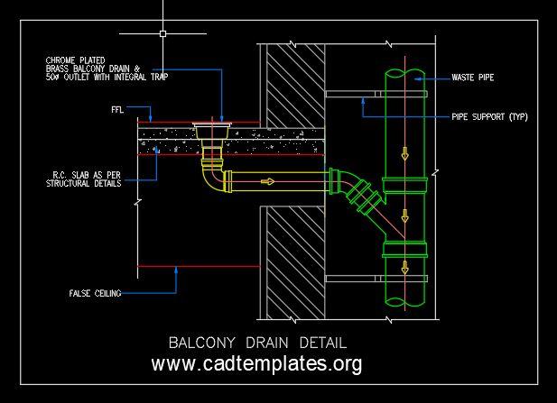 Balcony Drain Detail CAD Template DWG