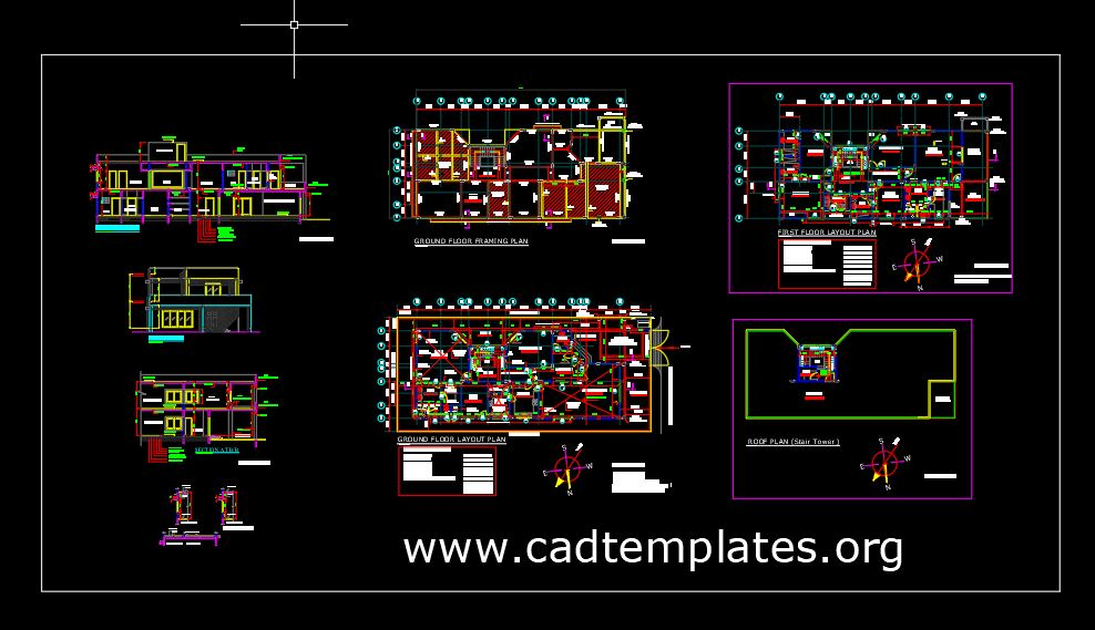 Bungalow Framing Layout Plan with all Details CAD Template DWG
