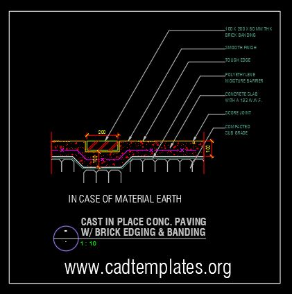 Cast in Place Concrete With Brick Band Details CAD Template DWG
