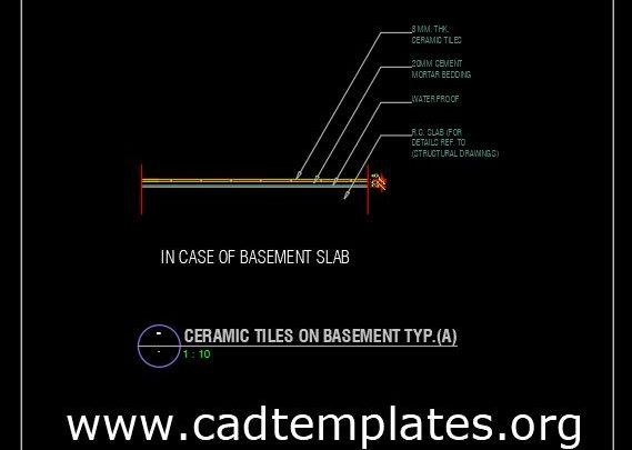 Ceramic Tiles On Basement Detail CAD Template DWG
