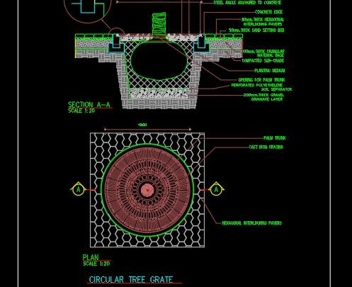 Circular Tree Grate Details CAD Template DWG
