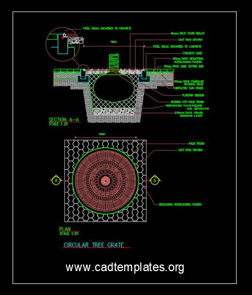 Circular Tree Grate Details CAD Template DWG