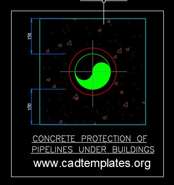 Concrete Protection of Pipelines Under Buildings Detail CAD Template DWG