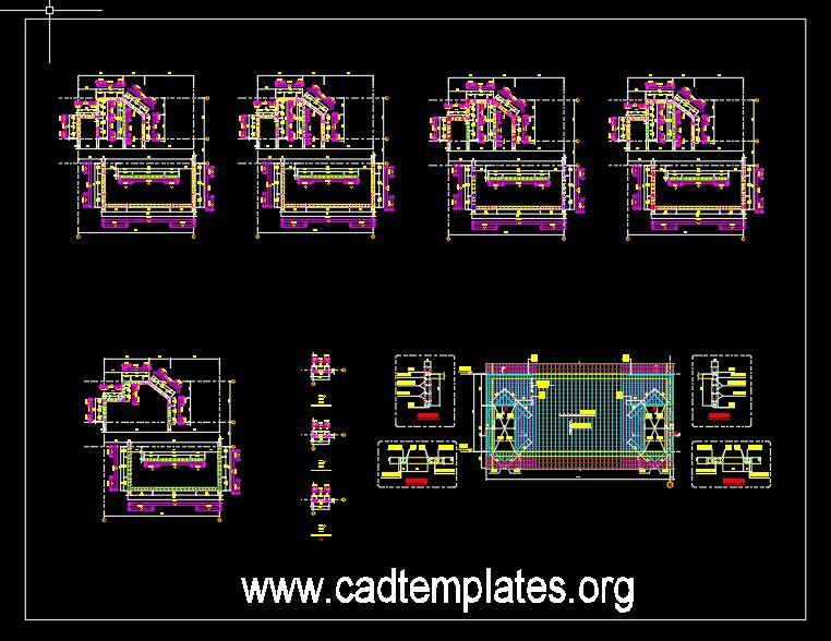 Concrete Walls Reinforcement Details CAD Template DWG