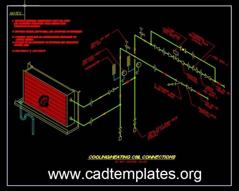 Cooling and Heating Coil Connections Details CAD Template DWG