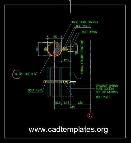 Downspout Section Detail CAD Template DWG