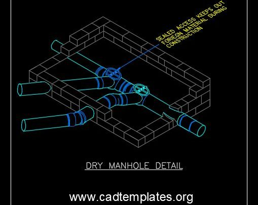Dry Manhole Detail Isometric CAD Template DWG