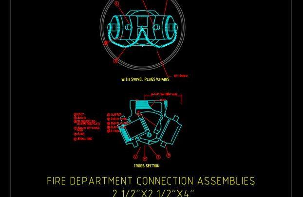 Fire Department Connection Assemblies Detail CAD Template DWG