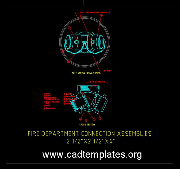Fire Department Connection Assemblies Detail CAD Template DWG