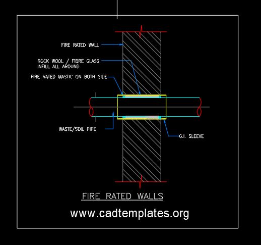 Fire Rated Walls Detail CAD Template DWG