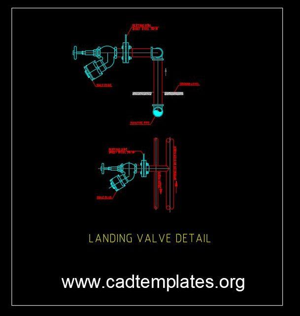 Fire System Landing Valve Detail CAD Template DWG