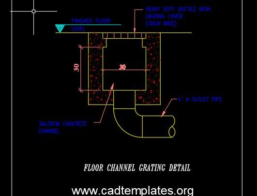 Floor Channel Grating Detail CAD Template DWG