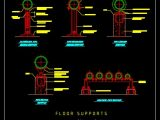 Floor Pipe Supports CAD Template DWG