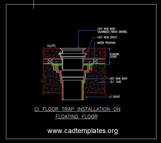 Floor Trap Installation On Floating Floor CAD Template DWG