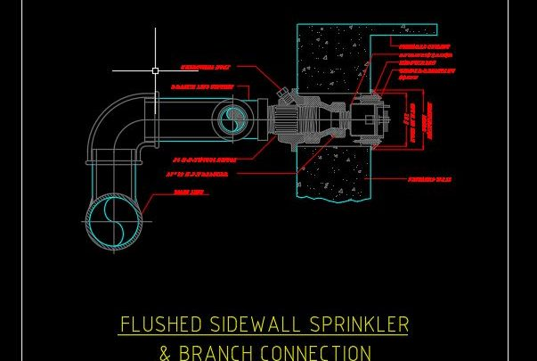 Flushed Sidewall Sprinkler and Branch Connection Detail CAD Template DWG
