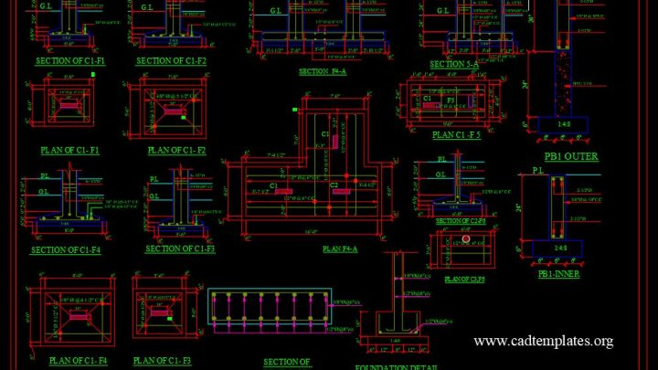 Foundation Reinforced Concrete Sections Details CAD Template DWG