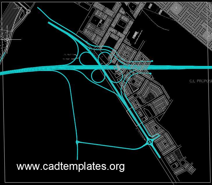 Full Cloverleaf Interchange Layout CAD Template DWG