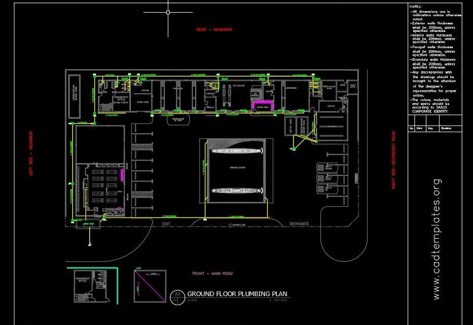 Gasoline Plumbing Layout Plan CAD Template DWG