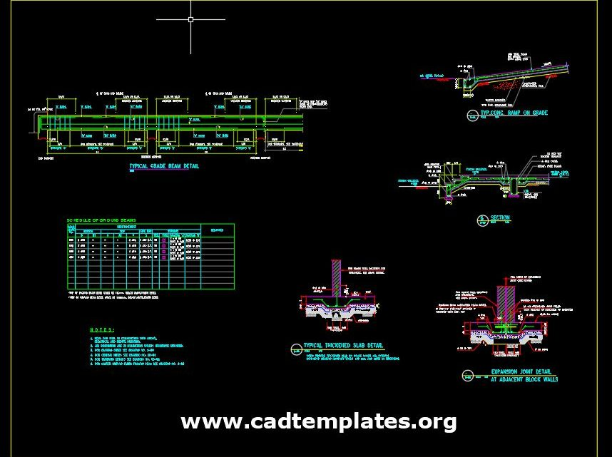 Grade Beam and Ramp on Grade Reinforcement Concrete Details CAD Template DWG