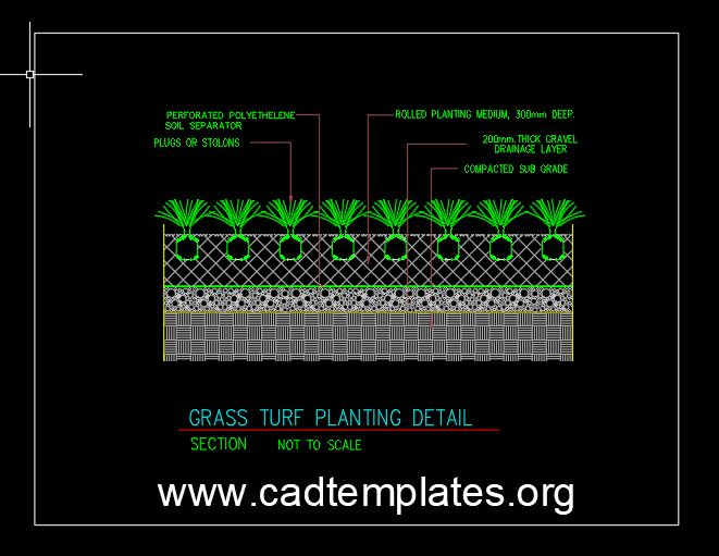 Grass Turf Planting Detail CAD Template DWG