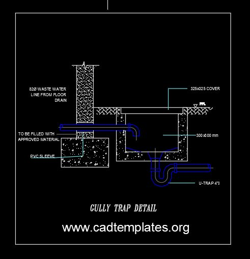 Gully Trap Detail CAD Template DWG