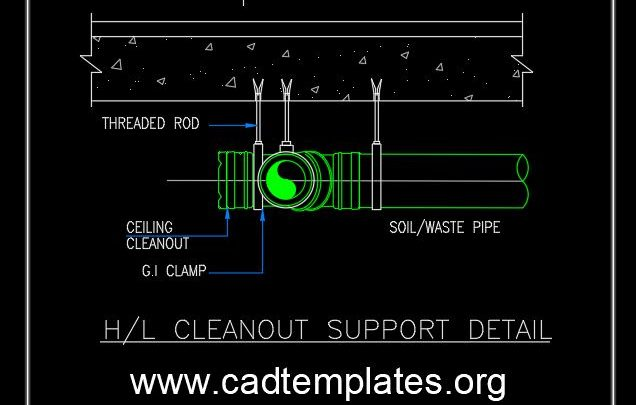 H L Cleanout Support Detail CAD Template DWG