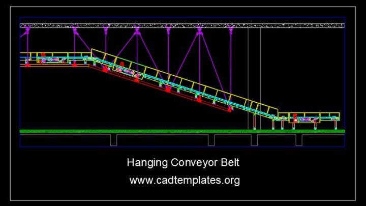 Hanging Conveyor Belt Structural Details CAD Template DWG