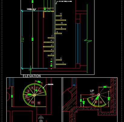 Helicoidal Steel Stair Elevation and Plan Details CAD Template DWG