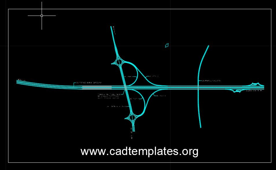 Highway Roundabout Interchange CAD Template DWG
