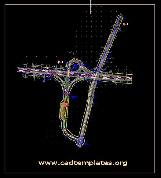 Highway Trumpet Interchange Layout Plan CAD Template DWG
