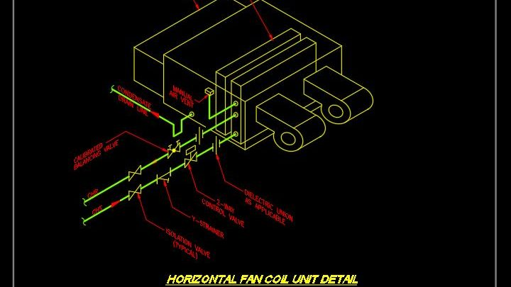 Horizontal Fan Coil Unit Detail CAD Template DWG