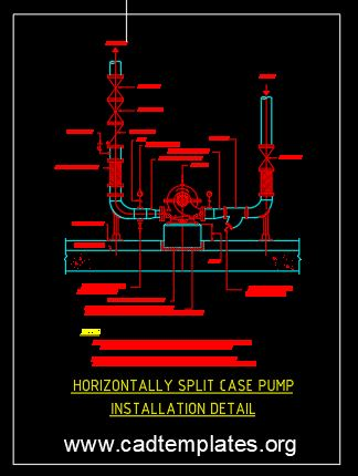 Horizontally Split Case Pump Installation Detail CAD Template DWG