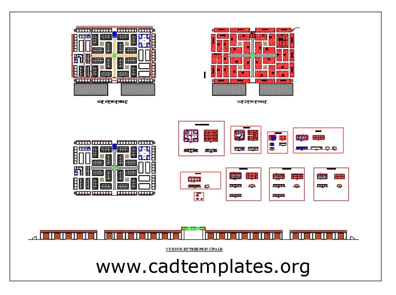 Hyper Market Site Plan and Elevations Details CAD Template DWG