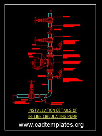 Installation Details Of In-Line Circulating Pump Detail CAD Template DWG
