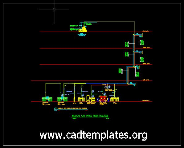 Medical Gas Pipes Riser Diagram CAD Template DWG