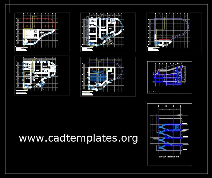 Music School Layout Plan and Elevation CAD Template DWG