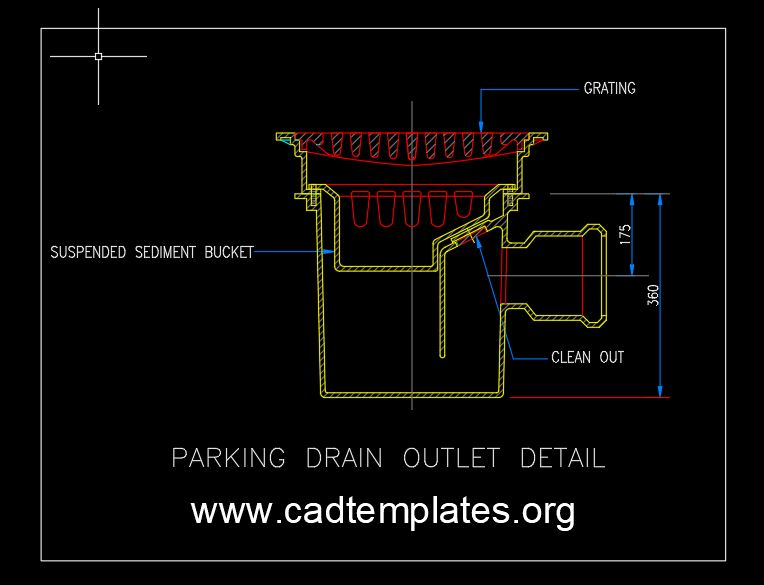 Parking Drain Outlet Detail CAD Template DWG