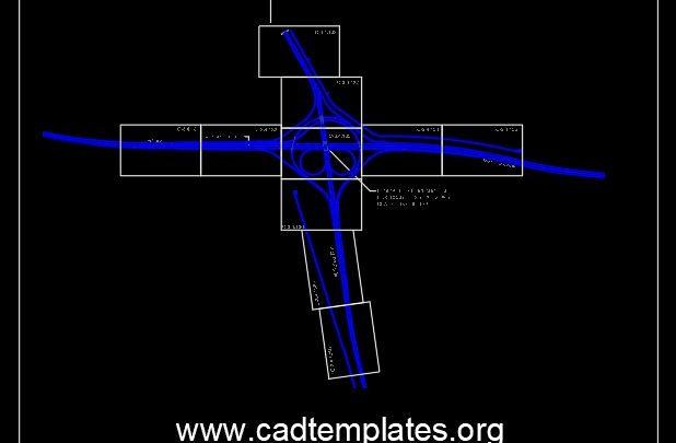 Partial Cloverleaf Interchange Layout CAD Template DWG