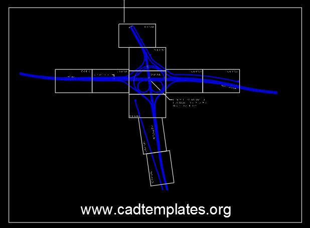 Partial Cloverleaf Interchange Layout CAD Template DWG